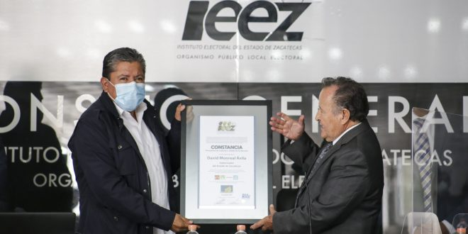 Realiza IEEZ cómputo estatal de la elección y entrega constancia provisional de mayoría a Gobernador Electo